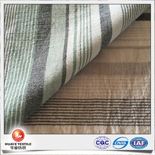 cotton polyester linen yarn dyed horizonal stripe crinkle fabric