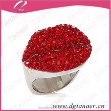 Stainless steel type lip red crystal diamond napkin ring