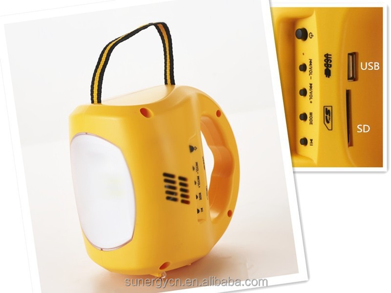 SUNERGY new launched 9 LED solar lamp 4 in <strong>1</strong> with FM Radio MP3 SD and phone charger