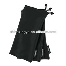 new design cell phone customized logo microfiber pouch mobile cleaning double drawstring pouch