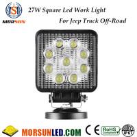 Square 27w 4x4 off road led work light 12v 27w led work light jeep truck atv utv parts