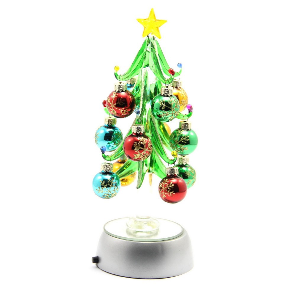 Glass christmas trees with crystal ornaments buy glass for Small christmas decorations