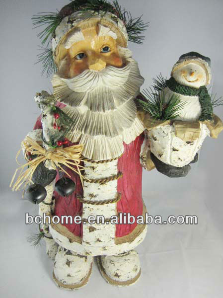 Imitation wood Christmas santa claus figure