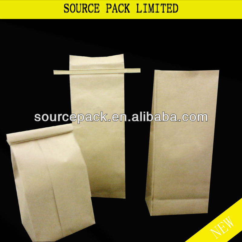 Stand up Side Gusset Kraft Paper Coffee Bag with resealable zipper