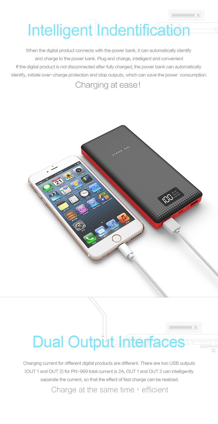 20000mAh PN-969 Li- polymer Pineng Portable Mobile Power Bank