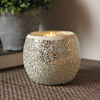 Cheap silver mosaic wholesale crackle glass candle holder