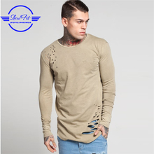 95 Cotton 5 spandex t shirts wholesale longline blank long sleeve distressed t shirts