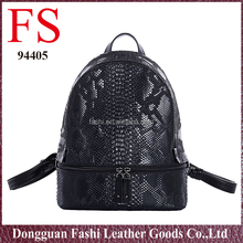 fashionable custom leather bags hot selling black snakeskin pu back pack bag