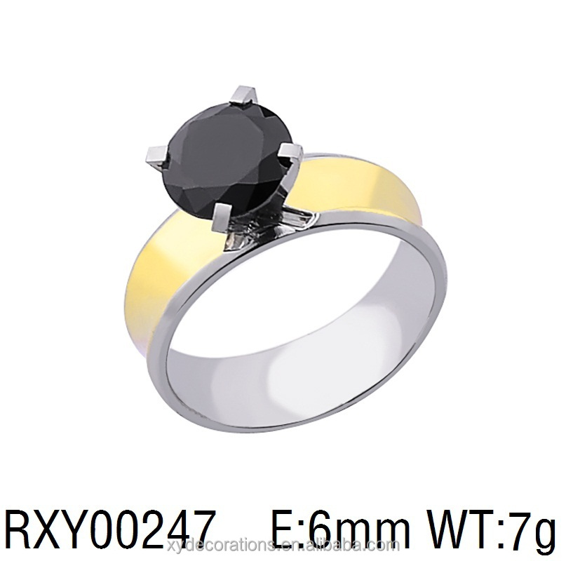 RXY00247 hot new men and women18k gold plated colored jewely black single cubic stone finger ring factory direct