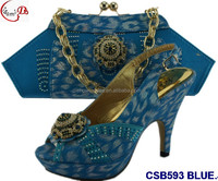 CSB593 Blue 2016 new Fashion lady shoes and matching bag with stone for wedding,daily or party italian shoes and shoulder bags