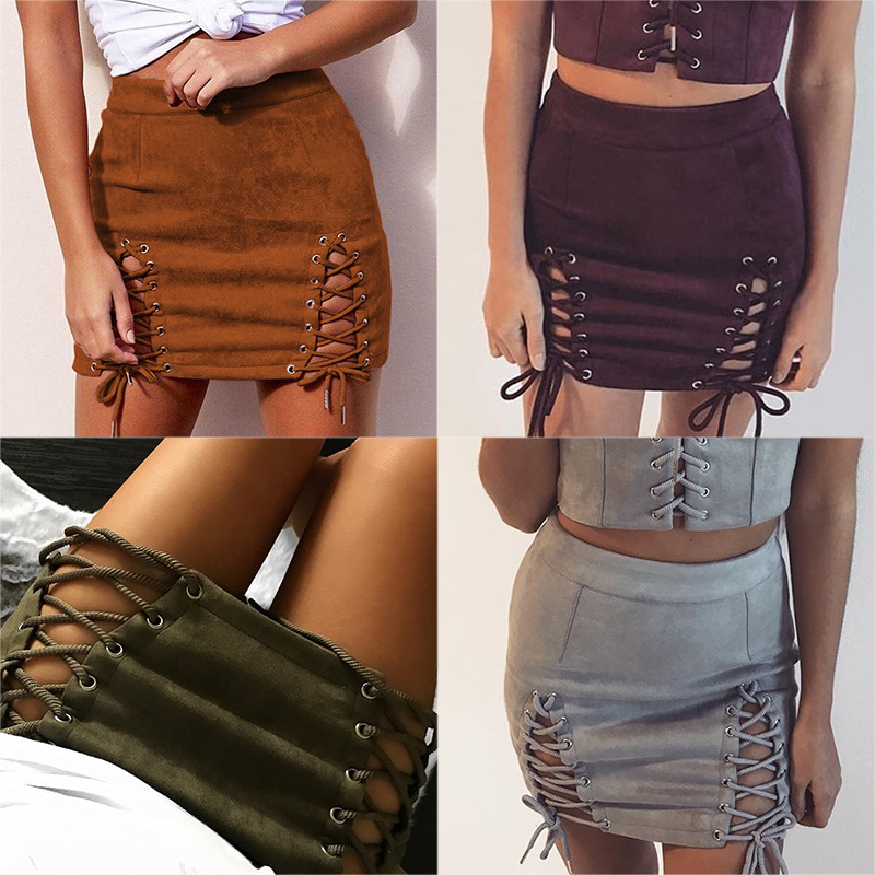 2018 Amazon Sexy skirts Women Bandage Suede Fabric Hollow Out Skirt Summer Elastic Short Skirt
