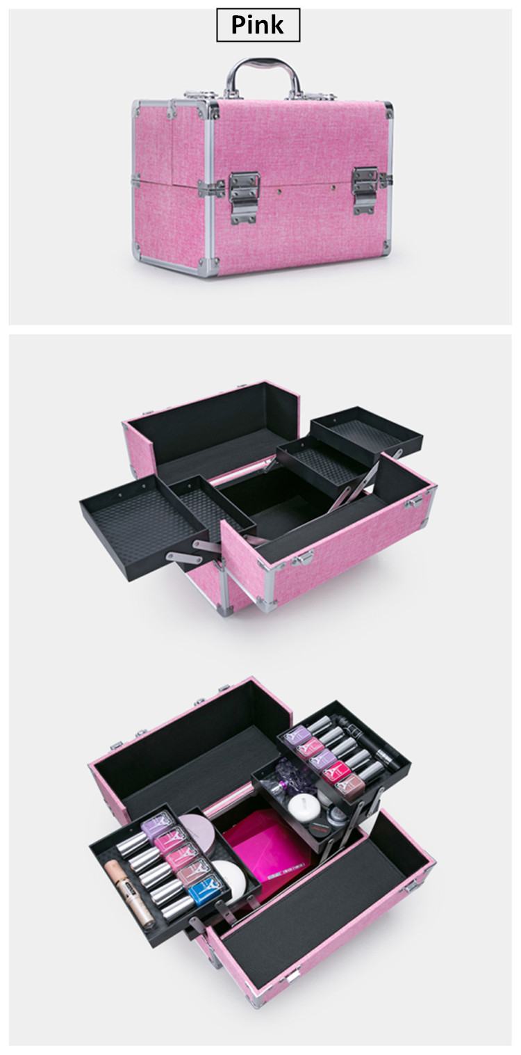 Unique Professional Aluminum Cosmeitc Train Case Makeup kit box case