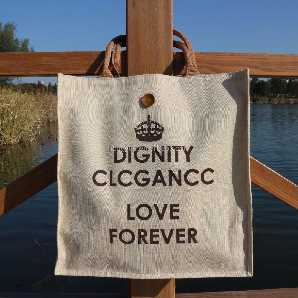 Custom Printed Fancy Eco-friendly Linen Tote Shopping Bag
