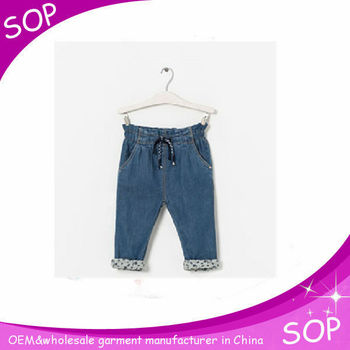 Eco-friendly chidren denim wear pants long cotton denim trousers baby girl jeans