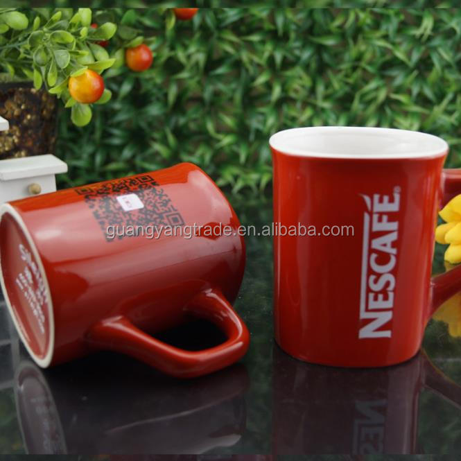 Ceramic mug handle nestle cappuccino cups porcelain coffee mug for nescafe promotion tea mug