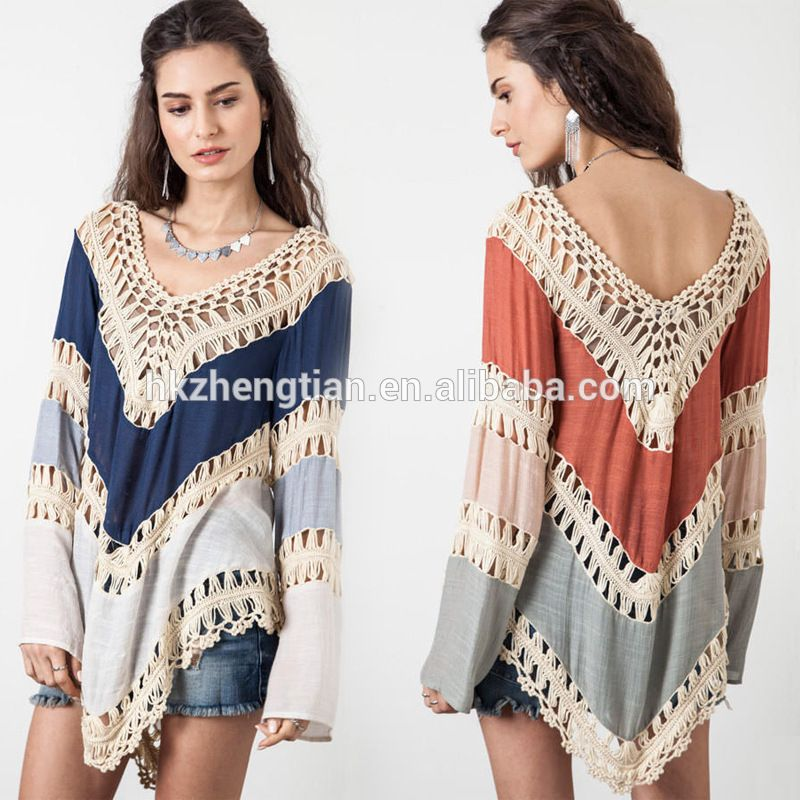 Summer women long tops walson Fashion Women's Lace Crochet Loose Tops Long Sleeve Shirt Kimono Casual Blouse