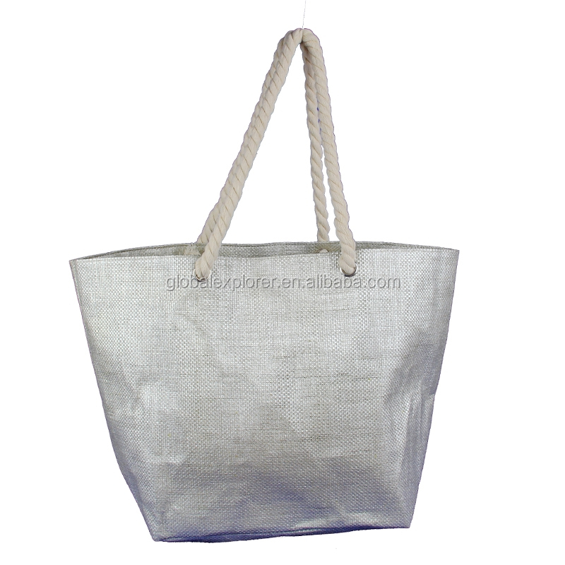 vintage glittering paper straw beach bag tote bag shopping bag