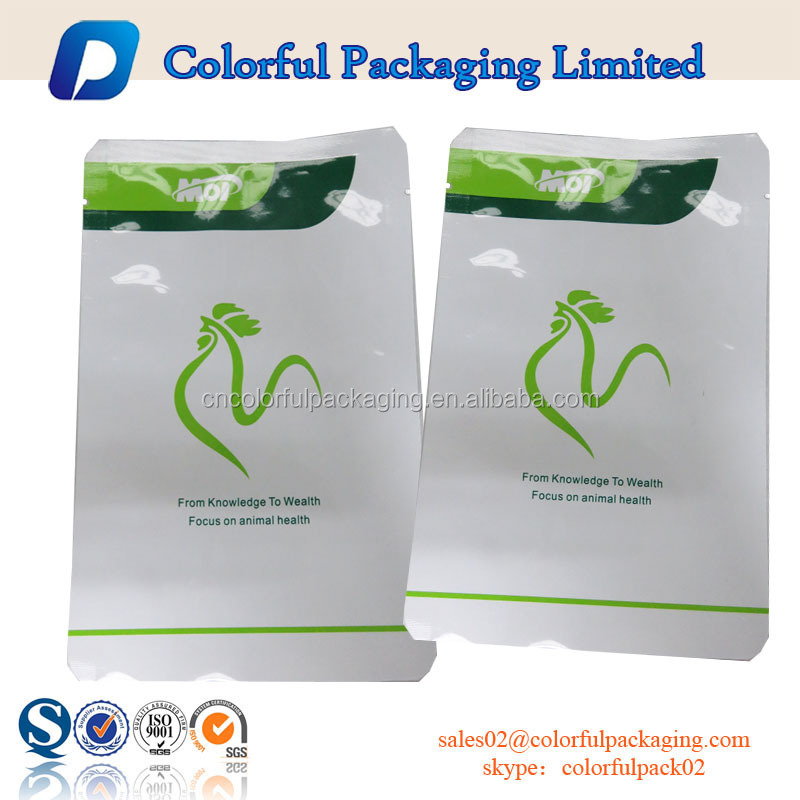 Three sides sealing medical packing bag for animal/aluminum foil medical powder packing feed bag