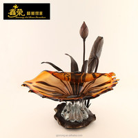Luxury hand blown European brown crystal Fruit Bowl Decorative Bowls And Plates with bronze base