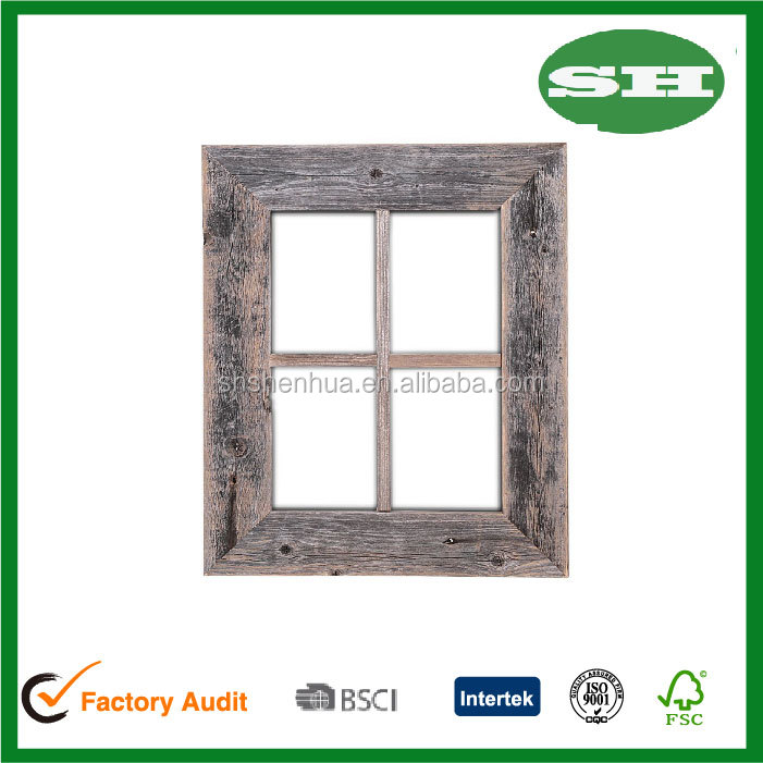 Wall art decoration Reclaimed Old Rustic antique Barn wood Window Frame
