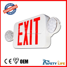 RED LED Emergency Exit Light Sign Recessed Edge Lit Battery Backup DOUBLE SIDE