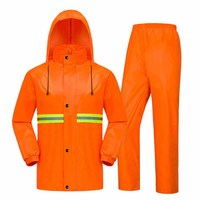 Waterproof Thick Double Layer Raincoat Split Suit Adult Reflective PVC Taffeta Polyester Sanitation Workers Raincoat