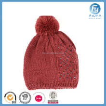 2017 custom red winter knitted hat with pom pom