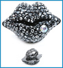 fashion big stones ring designs gun black mouth shape lip gemstone ring