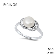 Cheap Jewelry Unique Pearl Polished Ring Diamond Anniversary Rings