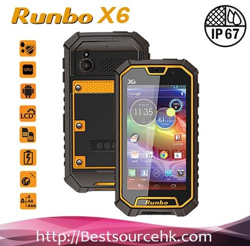 2013 New Listing 5.0 Inch Runbo X6 IP67 Rugged 3G SmartPhone MTK6589 Quad Core Android 4.2 waterproof phone with walkie talkie