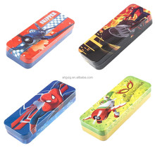 spiderman cartoon character tin pencil case for promotion