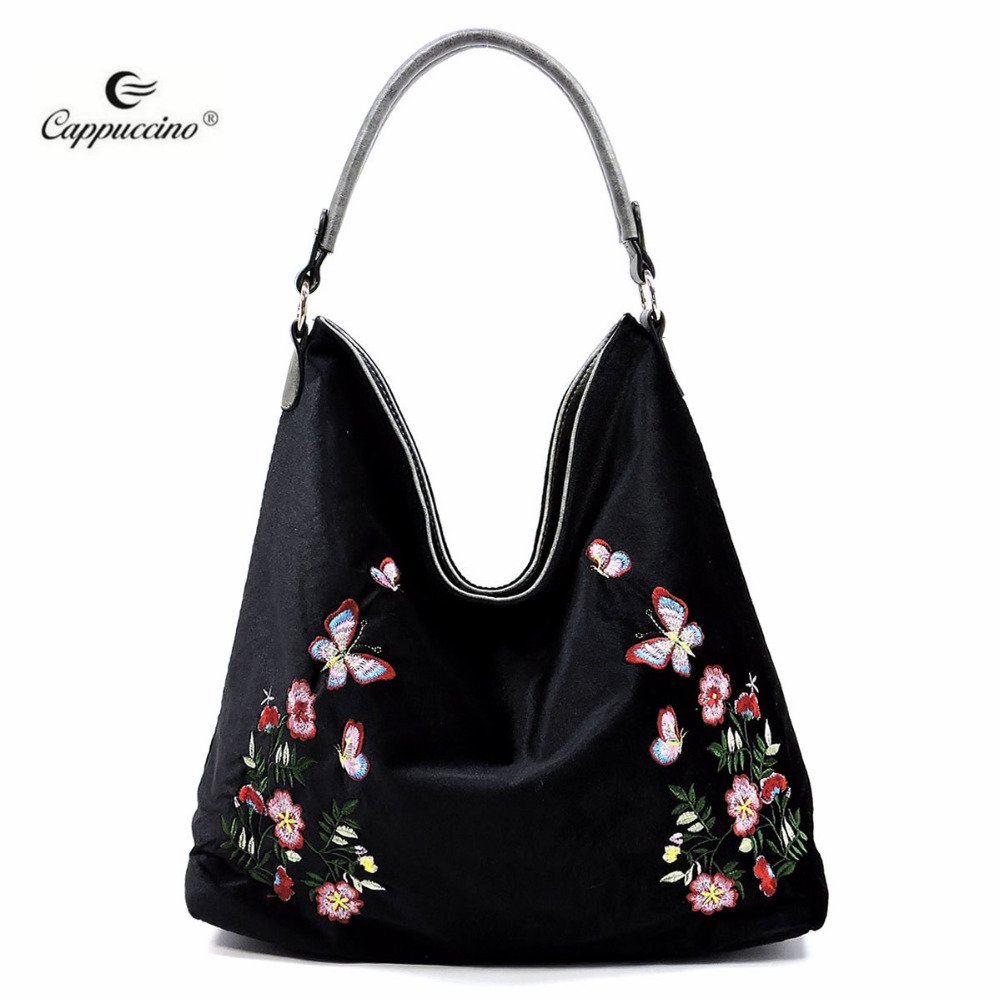 2018 SS Flower Embroidered Velvet Reversible handbags for ladies with Guitar Strap online shopping india