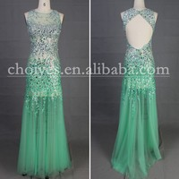 Freeshipping 2015 Prom Dress Trends DW50370 Backless Mint Mermaid Luxury crystal beaded prom dress