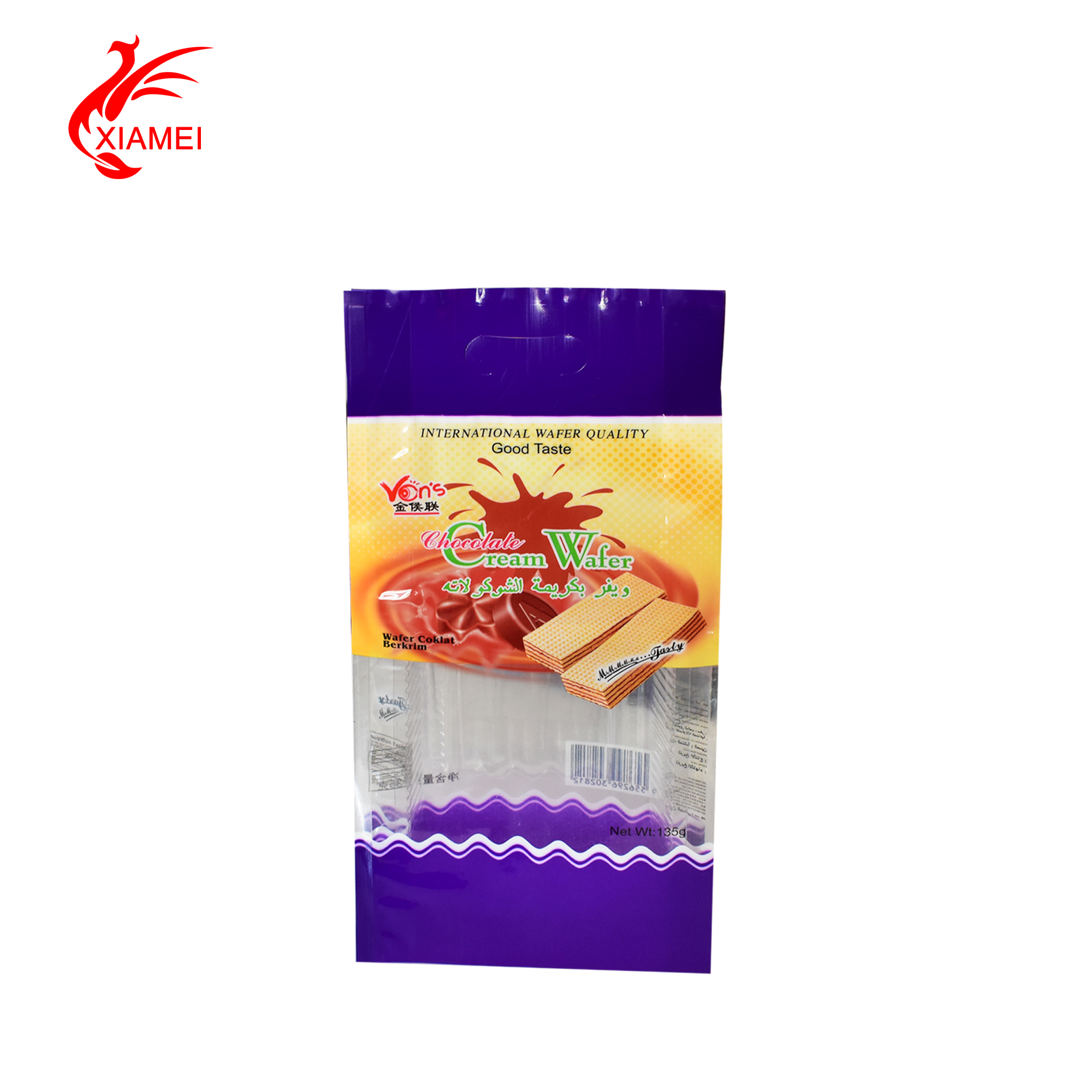 side gusset handling packing bag with hanging hole biscuit plastic bag