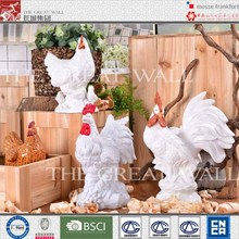 Wholesale decorative white ceramic rooster sculpture
