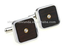 Wholesale Stainless steel with redwood Rhinestone 17*17mm size square shape men's cufflinks and studs jewellery accesories