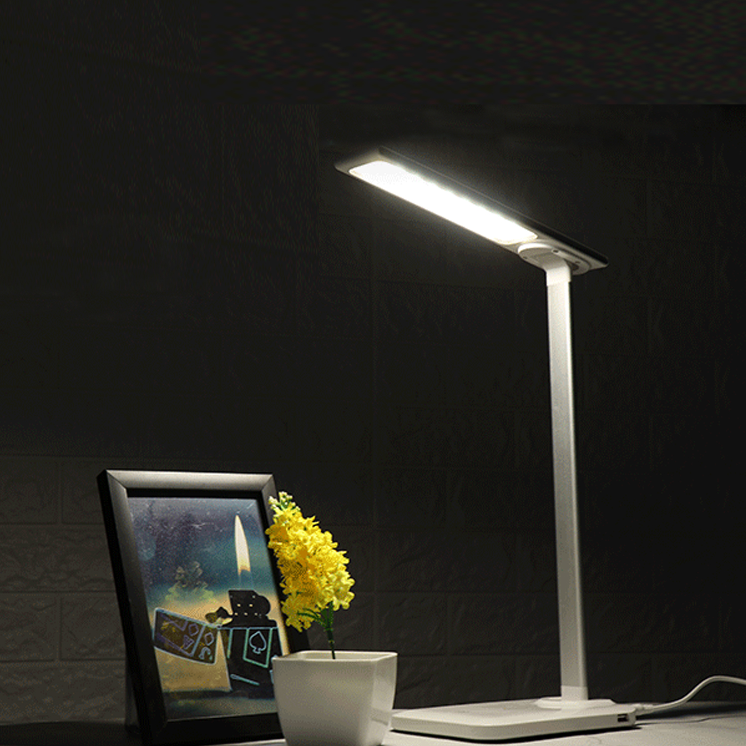 Table lamp with usb port and outlet wireless charging station furniture
