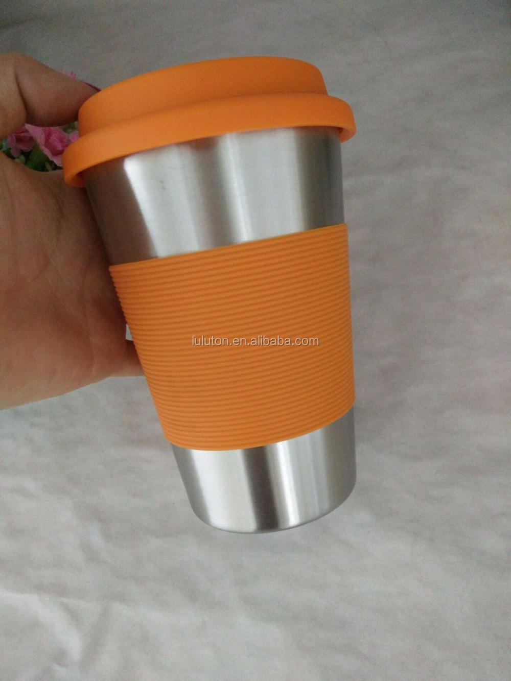 450ml Stainless Steel Metal Type and Silicone Sleeve Feature Coffee Cups