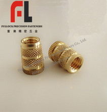 High precision knurled brass nut/molded-in insert