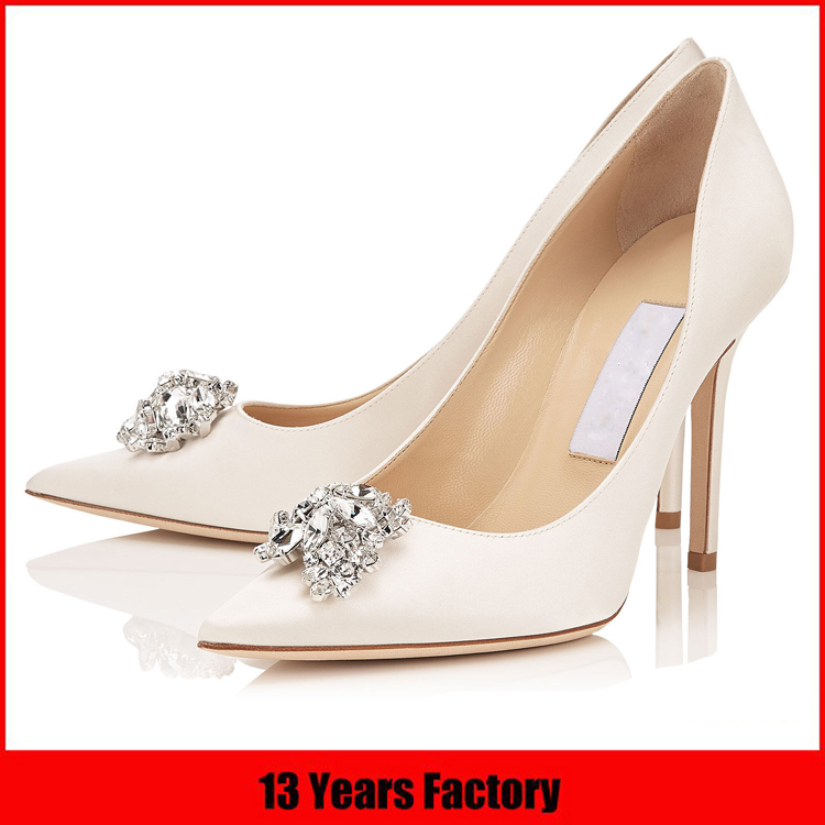 Fashionable style leather upper shoes women bling diamond ornament fancy point toe ladies sexy shoes high heel
