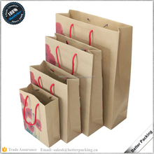 BN026-3 Retail Logo Printed Making Kraft Paper Brown Bag with Handles
