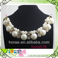 pearl and rhinestone with plating golden color base new arrival pearl necklace can sew on neck