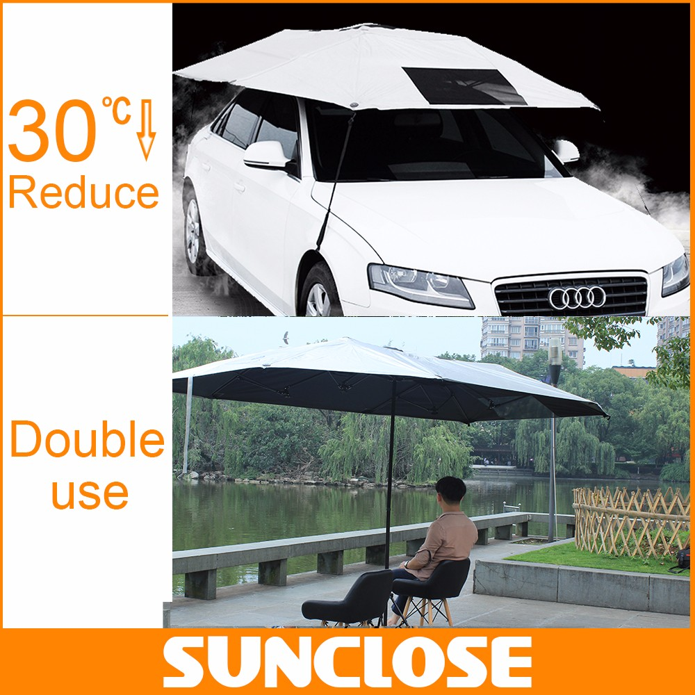 SUNCLOSE Polyester Motorcycle Cover Silver Folding Parking Canopy Shelter