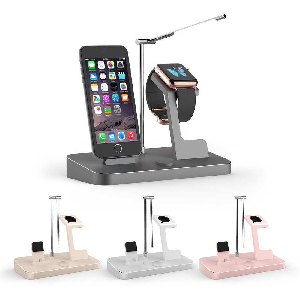 wholesale phone docking station for iphone apple watch and ipad with 8 2a output and led lamp. Black Bedroom Furniture Sets. Home Design Ideas