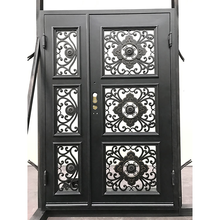 Manufacturer china direct price wrought iron front door exterior entry metal doors