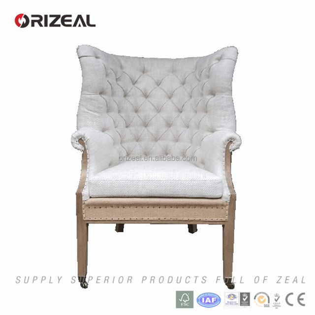 Hot Sale Cheap living room fabric lounge chair Chesterfield Queen anne high Wingback Chair for sale