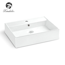 Brand white color rectangle delicate vanity ceramic new model China wash hand basin
