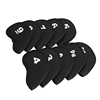 10pcs Golf Head Cover Club Iron Putter Head Protector Set Neoprene Portable Golf Bags Black