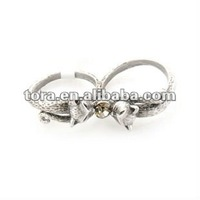 fashion personalized antique silver cat double finger rings