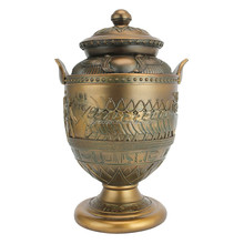 Handmade Patined Poly Resin Egyptian Presentation Urn
